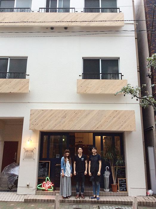 1階がZabutton Cafe、 2〜3階がZabutton Hostel