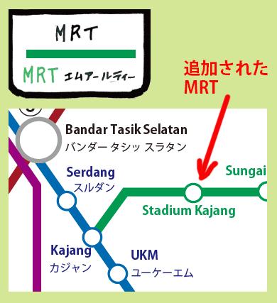 路線図に追加されたMRT