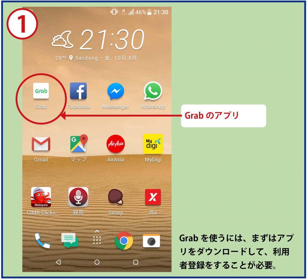 Grabのアプリ Grabを使うには、まずアプリをダウンロードして、利用者登録をすることが必要。