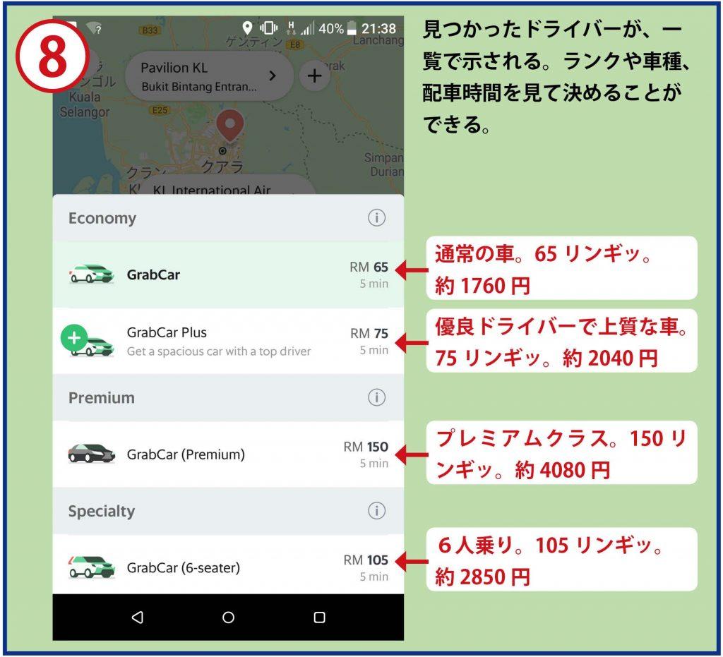 8見つかったドライバーが、一覧で示される。ランクや車種、配車時間を見て決めることができる。