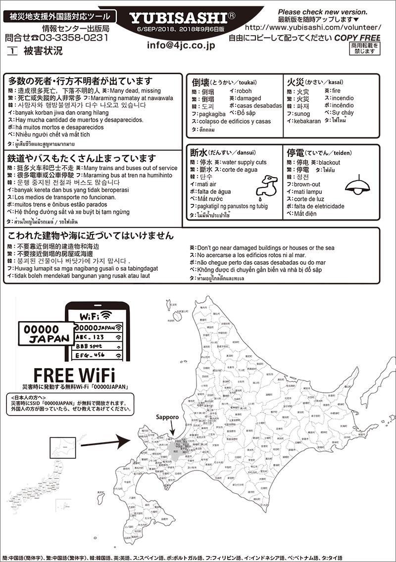被災地支援指さし 北海道