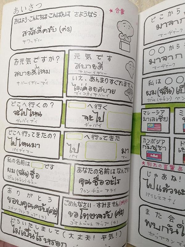 指さし会話帳タイ試作版のあいさつページ