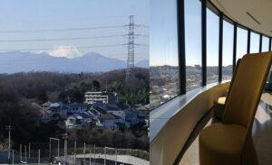 帝京大学八王子キャンパスには、見晴らしのよい特等席のような場所も作られています。キャンパスからは富士山も見ることができます